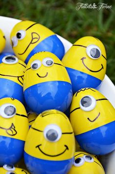 Minion Mayhem Birthday Party--Each child had to find 4 plastic Minion eggs numbered 1-4, with each numbered egg containing a different prize.