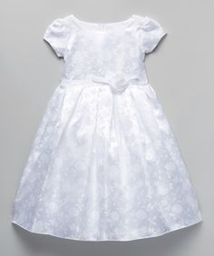 Another great find on #zulily! White Floral A-Line Dress - Toddler & Girls #zulilyfinds