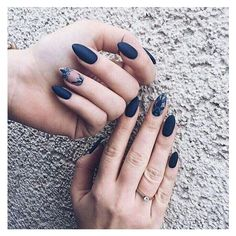 Dark blue nails ❤ liked on Polyvore featuring beauty products and nail care