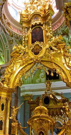 Center section of the huge gilded iconostasis (partition between the nave and the sanctuary) in the Peter and Paul Cathedral at the Peter and Paul Fortress (UNESCO World Heritage Site) ,St. Petersburg,Russia