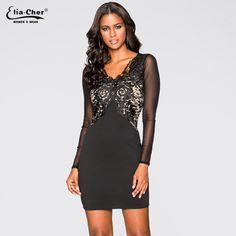 Elegant Lace V Neck Long Sleeve Black Party / Evening Dress //Price: $39.30 & FREE Shipping //     #hashtag2