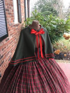 Dark Green Cape w/Plaid Skirt Civil War Capelet Dress