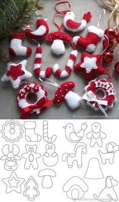 Learn how to make beautiful Christmas decorations made of fabric or felt - Oscar Wallin Christmas Ornament Template, Christmas Templates, Christmas Sewing, Christmas Diy, Christmas Wreaths, Homemade Christmas, Advent Wreaths, Christmas Tables, Reindeer Christmas