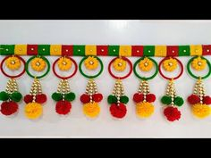 Wool crafts diy - Hello friends,an amazing craft out of waste Bangles and Wool Pls watch this video before throwing old Bangles and wool You will love this step by step tutori Door Hanging Decorations, Wall Hanging Crafts, Diwali Diy, Diwali Craft, Diwali Decoration Items, Handmade Decorations, Diy Home Crafts, Fun Crafts, Arts And Crafts
