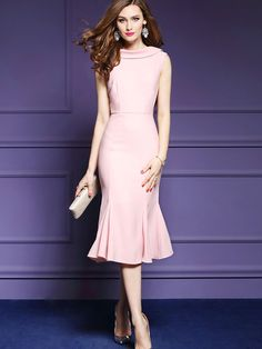 Pink Fishtail Women's Sheath Dress