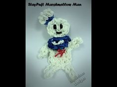 STAY PUFT MARSHMALLOW MAN (Ghostbusters) on the Rainbow Loom. Designed and loomed by Kate Schultz of Izzalicious Designs. Click photo for YouTube tutorial.