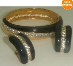 Donald Stannard Bracelet Earrings Couture Rhinestone Vintage 3 Pc Set