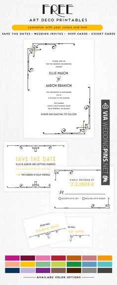 Free Art Deco Wedding Printables save the dates • invites • rsvp cards • escort cards. Your color, Your Words | CHECK OUT MORE IDEAS AT WEDDINGPINS.NET | #printableweddingtemplates