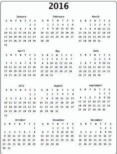2016 calendar 18