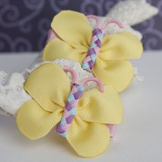 Spring Butterfly Hair Bows Cute Pigtail Bows by MyLittlePixies