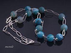Blue, naszyjnik z agatów - KrainaMonle - Naszyjniki długie
