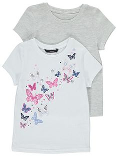 Freshen-up your little flutters casual separates with this sweet team of cotton-rich tops. With 2 pretty styles to choose from, they're a quick-fix way to sw...