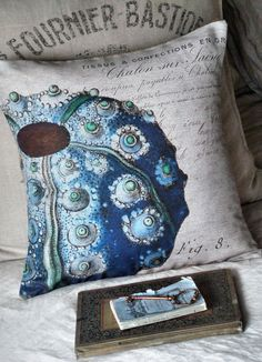 Cotton and Burlap Pillow Cover...Beach Decor por JolieMarche, $35.00