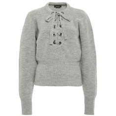 Isabel Marant Charley Lace-Up Wool Sweater ($536) ❤ liked on Polyvore featuring tops, sweaters, shirts, isabel marant, wool sweaters, lace up shirt, ribbed sweater, lace up front shirt and long sleeve sweater