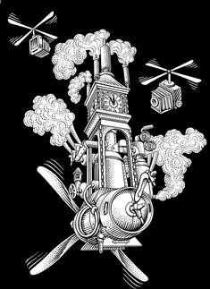 Scratchboard illustrations by Michael Halbert for Steamworks beer labels.