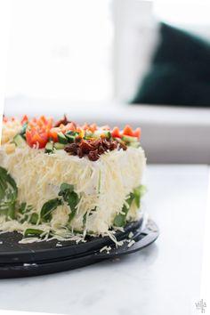 kasvisvoileipäkakku, resepti, voileipäkakku Savory Cakes, Independence Day, Dinner, Food, Dining, Diwali, Food Dinners, Essen, 4th Of July Nails