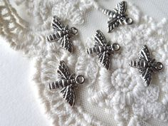 6 Silver Wasp Charms Winged Flying Insect Miniature Bug by BuyDiy