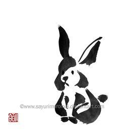 Rabbit - sumi-e by SayuriMVRomei on DeviantArt
