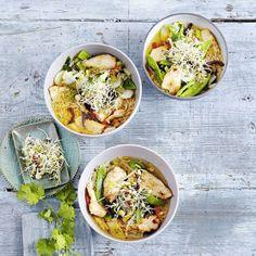 Blitzschnelles Suppenvergnügen mit zartem Filet und 10-Minuten-Reis. Ingwer, Chili, Knoblauch und Sprossen geben der Suppe Würze und Biss.