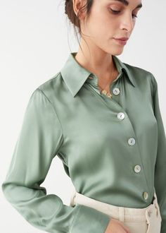 & Other Stories Iridescent Button Satin Blouse