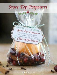 Stove Top Potpourri recipe with free printable. Perfect Christmas gift for neighbors. - http://lizoncall.com