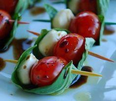 Little boats of basil, mozzarella, tomato and balsamic drizzle!