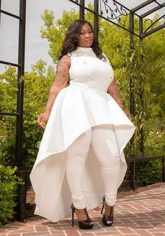 "Plus Size ""CoCo"" 6 Button Mock Neck High Low Sleeveless Jumpsuit - Ivory"