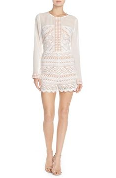 $108 Adelyn Rae Chiffon & Lace Romper available at #Nordstrom
