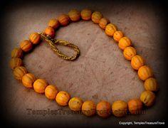 Melon Beads Necklace/Earthy Orange Konyak Naga Vintage Glass