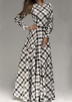 White Plaid Pleated Belt Long Sleeve Maxi Dress - same cheap site, cute for Christmas time Long Sleeve Maxi, Maxi Dress With Sleeves, Dress Skirt, Plaid Dress, Shirt Dress, Modest Outfits, Casual Dresses, Fashion Dresses, Maxi Dresses