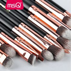 Only $5.83, MSQ 12pcs Eyeshadow Makeup Brushes Set Pro Rose Gold Eye Shadow Blending Make Up Brushes Soft Synthetic Hair For Beauty
