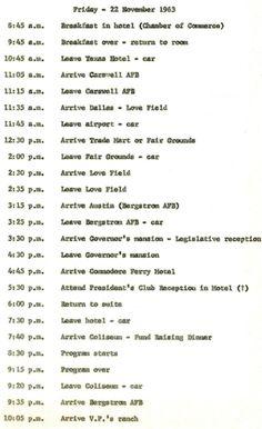 JFK's schedule for Nov. 22, 1963