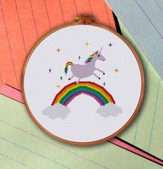 Unicorn over Rainbow cross stitch pattern modern by ThuHaDesign
