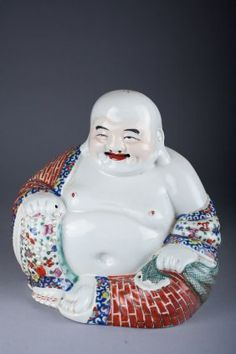Antique Chinese Famille Rose Laughing Buddha