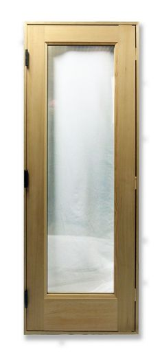 "28"" x 80"" Fir Sauna Door with a Clear 21""x 67"" Rectangular Tempered Thermo-Pane Glass"