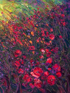 Closeup image of contemporary impressionist oil painting, Field of Blooms, 13ft long