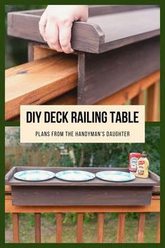 Double the width of your deck railing and turn it into a railing table! This simple project is perfect as a grilling station, outdoor bar or extra table space! Get the free woodworking plans to make this easy DIY deck railing table at The Handyman's Daughter! #deck #woodworkingproject #thehandymansdaughter