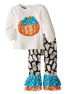 Mud Pie Baby-Girls Newborn Pumpkin Pant Set...Get it: www.teelieturner.com  2-piece set. Cotton interlock top features pumpackin applique and keyhole back. Comes with ghost printed cotton spandex leggings with ruffle trim at hem. #teelieturner #MudPie #Amazon #teelieturnershoppingnetwork