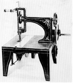 Singer's patent model, 1851; a commercial machine was used, bearing the serial number 22.