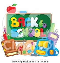 1114884-Back-To-School-Chalkboard-With-Supplies-Poster-Art-Print.jpg (450×470)