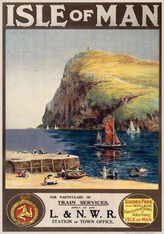Isle of Man, UK Vintage Travel Train Poster Posters Uk, Train Posters, Retro Poster, Railway Posters, Poster Ads, Advertising Poster, Vintage Travel Posters, Vintage Postcards, Vintage Advertisements