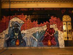 """Mural Villa Crespo """"Ser nuestras lámparas, ser refugio de nosotros mismos"""""""