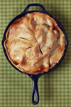 Recipe: Easy Skillet Apple Pie  Making an apple pie has never been so easy. Simply toss apples, cinnamon, and brown sugar, and spoon over a refrigerated pie crust in the cast-iron skillet. Top with the other crust and bake.  Watch: Easy Skillet Apple Pie                                                                                                                                                                                 More