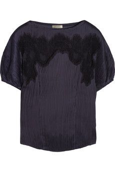 Lace paneled plissé-satin top by Nina Ricci
