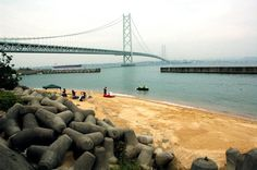Akashi Kaikyo World's Longest Suspension Bridge Iwaya Beach
