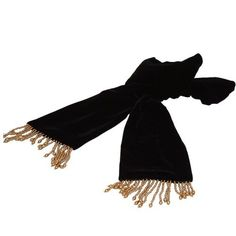 ArtisanStreet's Black & Gold Fringed Avanti Scarf. Luxurious Silk & Rayon Velvet Finished with Beaded Fringe. ArtisanStreet. $129.50