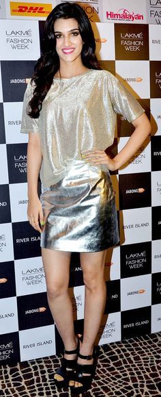 Kriti Sanon showcased designs by Jabong Presents River Island poses backstage at the Lakme Fashion Week Winter/Festive 2014 Day 2. #Bollywood #Fashion #Style #Beauty
