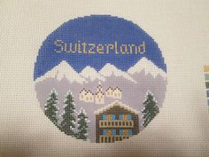 SWITZERLAND ROUND-SILVER NEEDLE-HANDPAINTED NEEDLEPOINT CANVAS #SilverNeedle