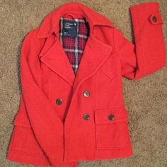 American Eagle Peacoat Like new condition (just don't wear it enough in AZ!) Great poppy color. No holes or stains. American Eagle Outfitters Jackets & Coats Pea Coats