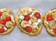 Top cloud bread with pesto, grape tomatoes, shrimp + goat or ricotta cheese to make tasty Cloud Bread Pizza. Pain Pizza, Low Carb Pizza, Low Carb Bread, Paleo Bread, Easy Bread Recipes, Pizza Recipes, Cooking Recipes, Lunch Recipes, Low Carbohydrate Diet